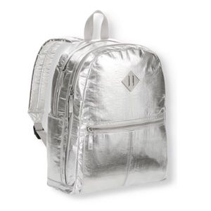 Handbags - Silver crinkle Dome backpack